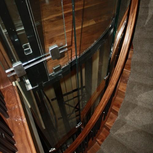 glass elevator between floors