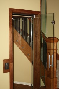 Door open in glass elevator