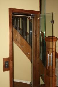 Door open in glass elevator