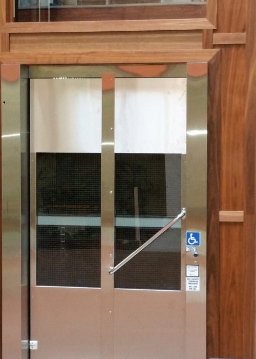 Glass and stainless steel door